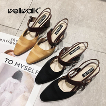 Wellwalk Chunky Sandals Ladies Ankle Strap Heels Shoes Fashion High Heels Sandals Women Close Toe Sandals Female Shoes Strip