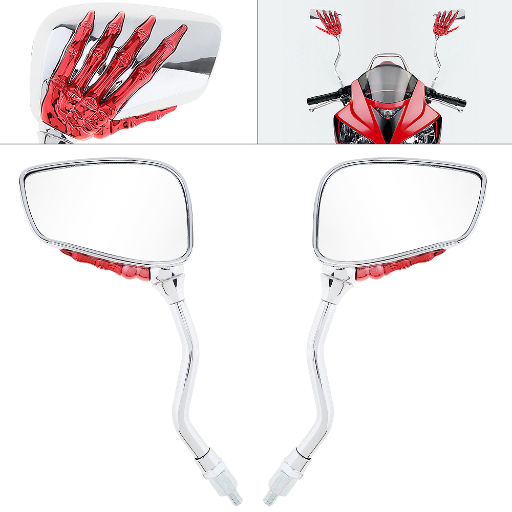 2pcs 8/10mm Universal Motorcycle Skeleton Skull Hand Claw Side Rear View Mirror Left & Right for Motorbike
