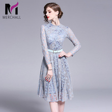 Merchall Fashion Designer Runway Lace Dress New Spring Autumn Women Long Sleeve Mesh Embroidery Vintage See through Dresses