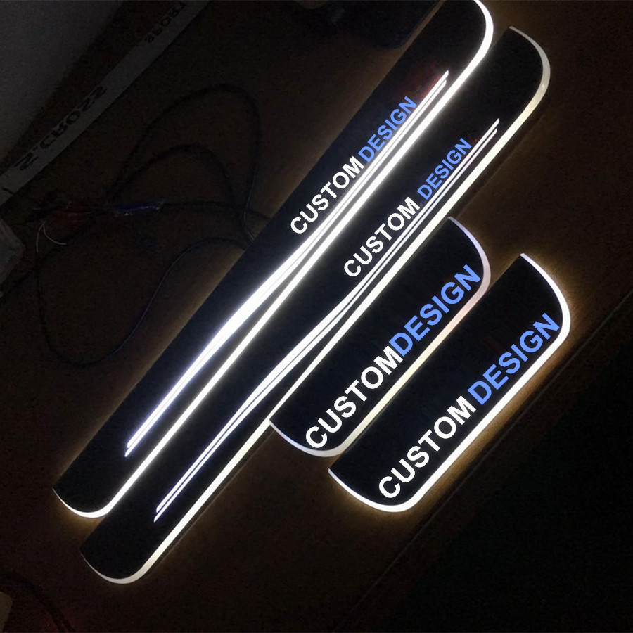 Christmas wedding gift present custom made  acrylic moving LED  Door Sill Scuff Plate Guard For Cadillac CTS2014 ATSL xt5 XTS for ford focus 2012 2013 2014 special lover gift birthday present led moving welcome pedal lights door sill scuff plate x2