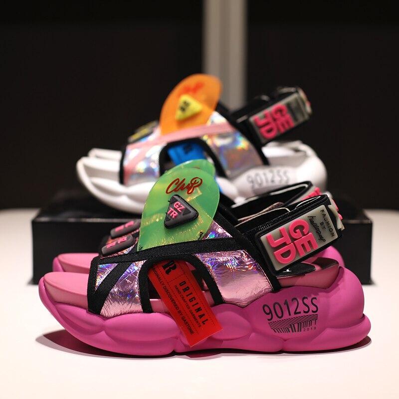 Prova Perfetto PVC Mixed Farbe Keile Sandalen Casual frauen Schuhe Aus Echtem Leder Peep Toe Hohe Plattform Alias Mujer 2019-in Mittlere Absätze aus Schuhe bei  Gruppe 2