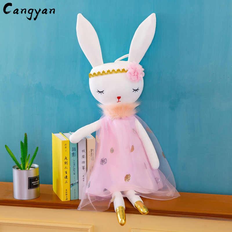 Yumuşak güzellik güzel uzun kulaklar tavşan peluş oyuncak sevimli prenses elbise tavşan bebek bebek kız doğum günü hediyesi Noel