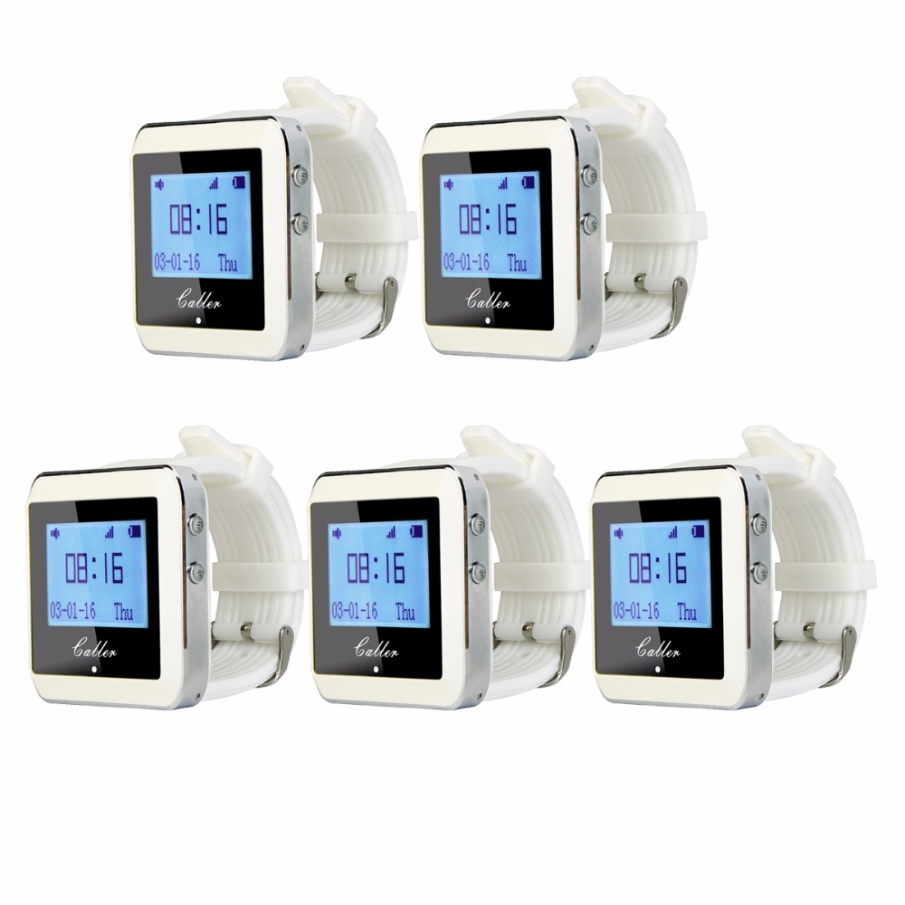 5pcs TIVDIO 433MHz 999 Channel Watch Pager Receiver Waiter Call Pager Wireless Calling System Restaurant Equipments F3288B wireless pager system 433 92mhz wireless restaurant table buzzer with monitor and watch receiver 3 display 42 call button