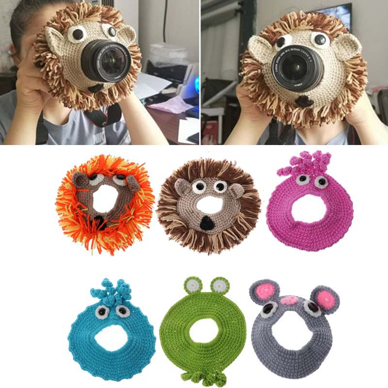 Animal Camera Buddies Lens Accessory For Child/Kid/Pet Photography Knitted Lion Octopus Teaser Toy Lens Posing Photo Props