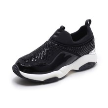 Breathable fashion Leisure Spandex lycra enamelled cow leather Women's Vulcanize Shoes
