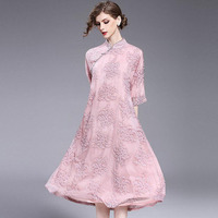 Summer Dress 2017 Womens Long Dresses Embroidered Folk custom High Quality Chiffon Ukraine Elegant Loose Vintage Ladies Robes