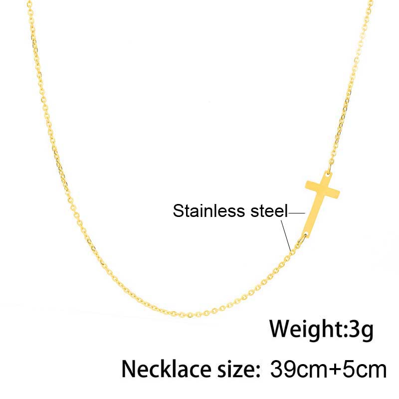 Simple Silver and Gold Color Cross Choker Necklace for Women Bohemian Stainless Steel Short Chain Necklace Summer Jewelry Collar 3