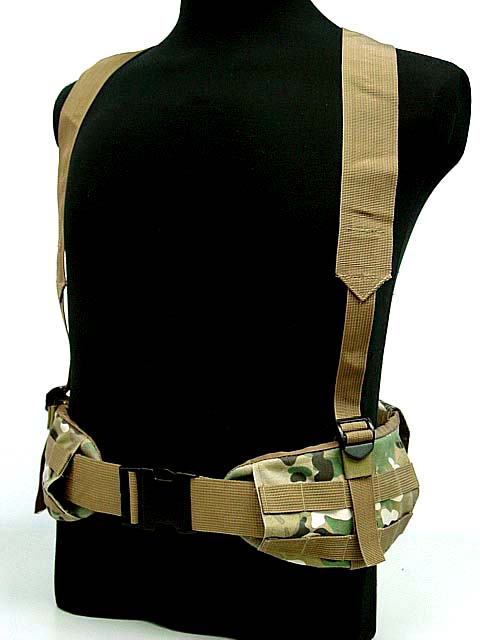 Airsoft Tactical Molle Sports Combat Waist Padded Belt with H-shaped Suspender Shoulder Strap Adjustable Nylon Cummerbunds BK