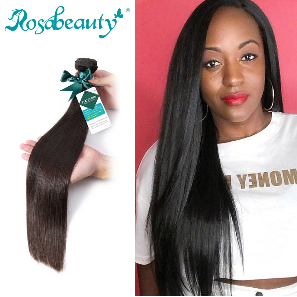 Rosa Beauty Natural Color Long Peruvian Hair Straight Human Hair Weave 3 4 Bundles Unprocessed Raw Virgin Hair  6- 30 Inch