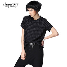 [cheerart] Original Women Summer Black Burnt-Out Short Sleeve Chiffon Blouse Plus Size Loose Novelty Top Fashion 2017 Clothing