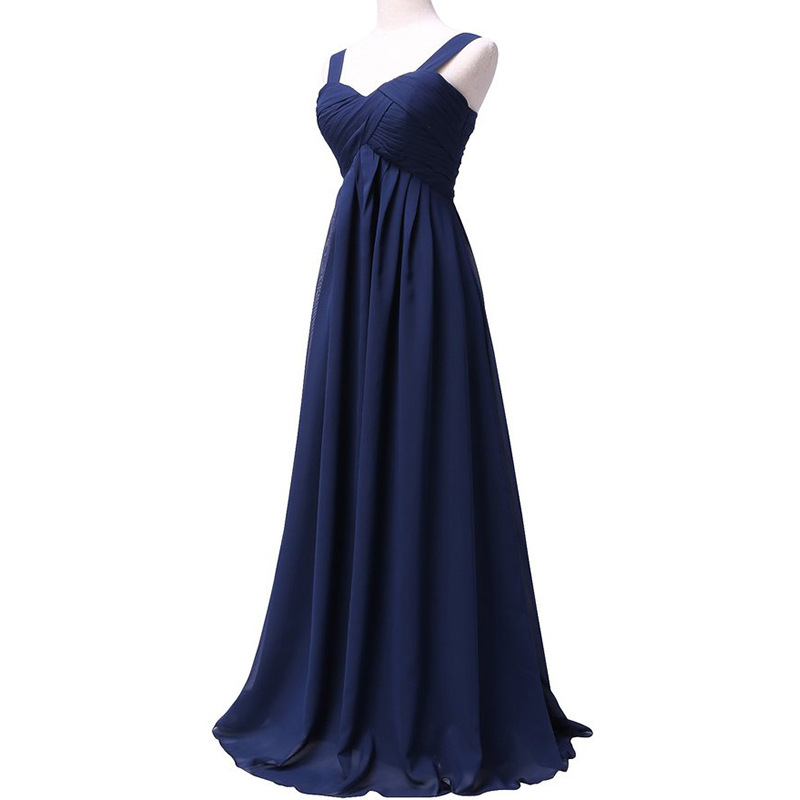 Holievery Spaghetti Straps Bridesmaid Dresses Lace Up 2019 Chiffon Long Wedding Guest Dress Dama De Honor Navy Blue