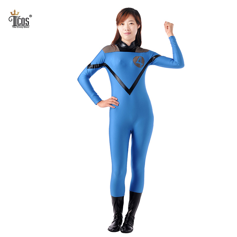 Fantastic Four Costume Women Halloween Cosplay Costumes Spandex Lycra Nylon Bodysuit Second Skin Tight Suit Full Body Zentai