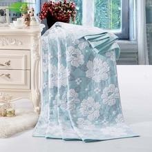 明傑新しいファッション中国綿タオル毛布ベッド風呂牡丹1ピースベッドカバー寝具セットキルトシートソファ旅行wholesal