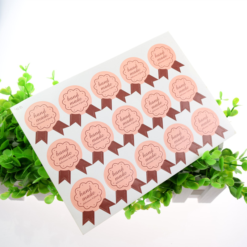 Pink Hand Made Seal Sticker Self Adhesive Stickers Kraft Packaging Paper Label Thank You Stickers Cake Baking Labels Gift Boxes