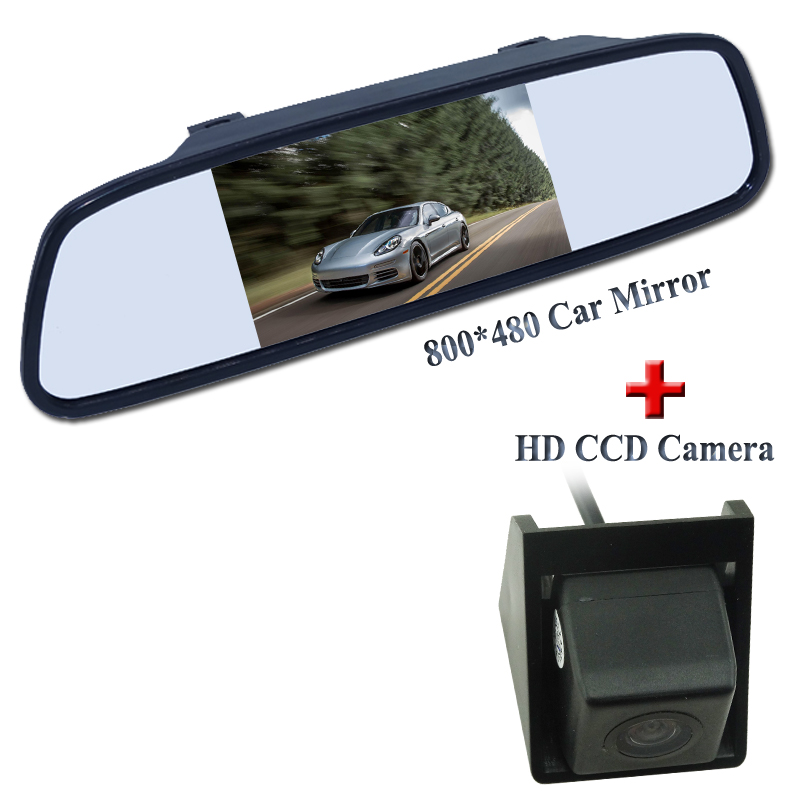 4.3 car mirror use for car reversing 800*480 resolution+black car parking camera for Ssangyong new Actyon Korando
