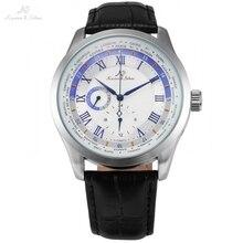 KS Imperial Display 24 Horas Semana Día Del Relogio Banda de Cuero Negro Reloj de Cuerda Automática Masculina Mecánica Reloj Automático Blanco/KS303