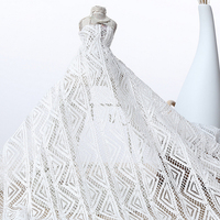 White cotton haute couture geometric flowers no stretch lace fabric fashion cotton Cord Crocheted lace fabric for wedding dress