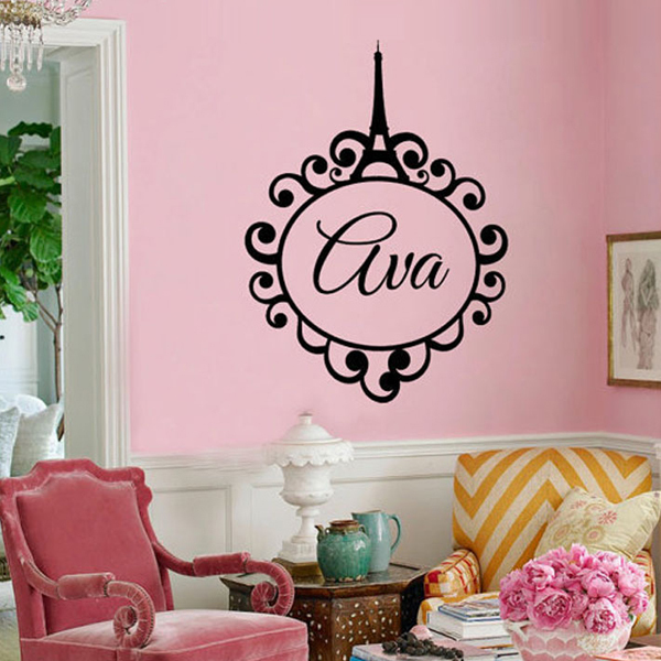 Custom Personalized Name baby girl bedroom Wall Art Stickers Paris ...