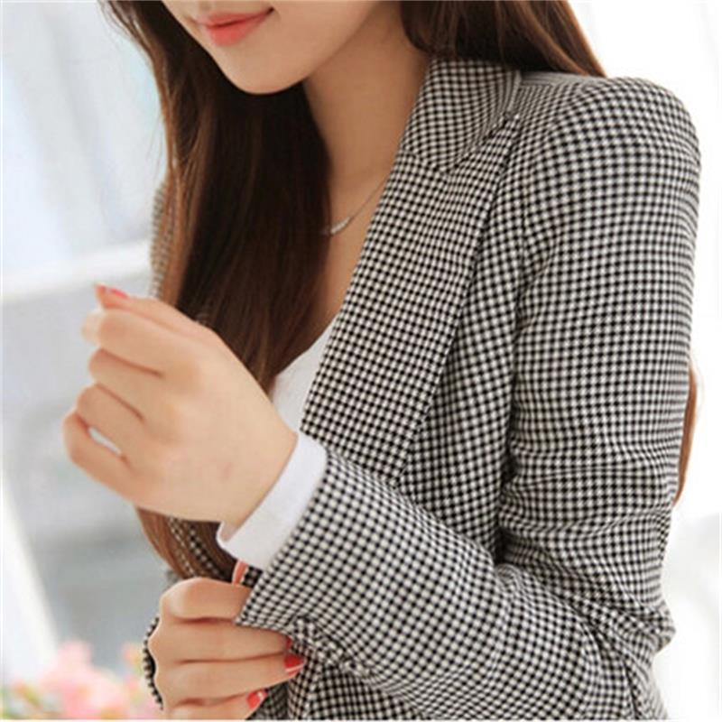 Fashion Women's Plaid Suit Jacket Female Autumn New Small Suit Women's Jacket In The Long Section Of Self-cultivation Wild Tide