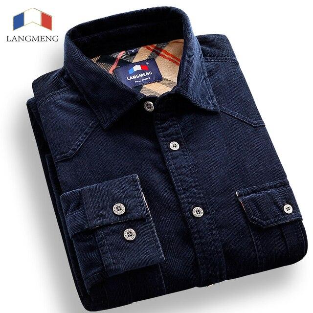 Langmeng 2016 Nueva Moda Camisa de Pana de Primavera Ocasionales de Los Hombres Camisas Para Hombre de Manga Larga Slim Fit Ropa de Algodón Camisa Masculina