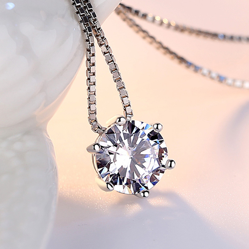 Zarif rhinestone zinciri tek zirkon 925 saf gümüş kolye kadın - Kostüm mücevherat - Fotoğraf 4