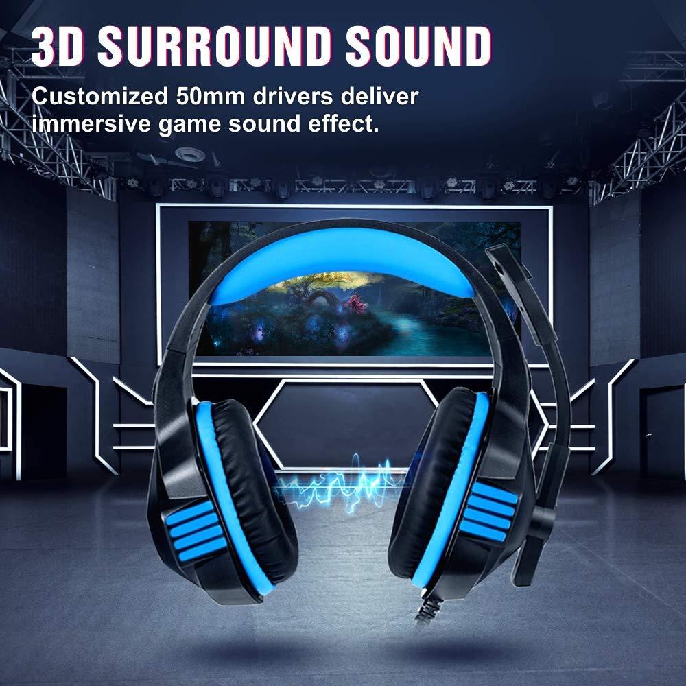 Hunterspider стерео игровая гарнитура для PS4 Xbox One, Накладные наушники с шумоизолирующим микрофоном, светодиодный светильник, регулятор громкости f
