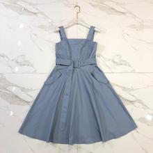 Chic women's vintage dress 2019 summer backless slip dress Hot fashion belt party dress A389