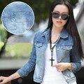 Primavera verano 2017 chaqueta de mezclilla de las mujeres del estilo de corea jeans chaquetas vaqueras abrigo al por mayor para las mujeres sml xl