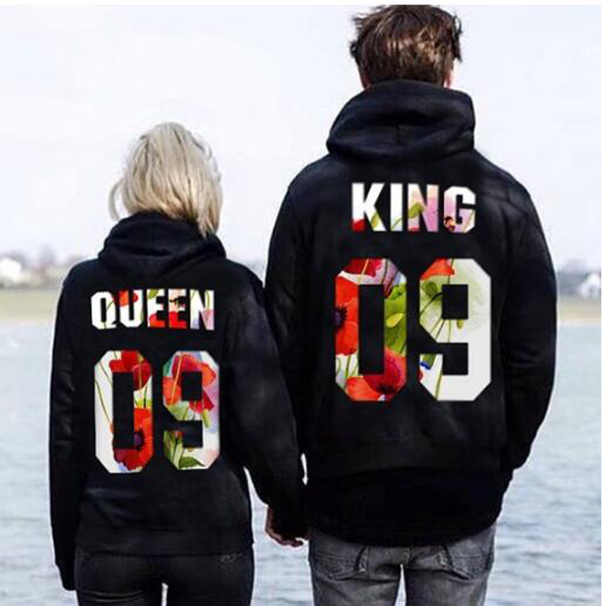Plus Size S-5XL Couple Hoodies Sweatshirts King Queen Letters Printed Long Sleeve Hooded Tracksuit For Men Women Funny Clothes