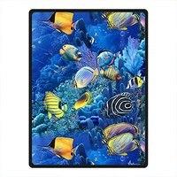 Custom Blanket Needyou Tropical Fish Fleece Throw Blanket Fleece 58 x 80 Outdoor Indoor