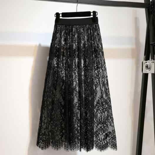 Женская плиссированная летняя юбка тонкая сетчатая кружевная юбка с тюлем Jupe Jemme белая черная юбка с высокой талией сексуальная открытая Макси Длинная юбка DV236