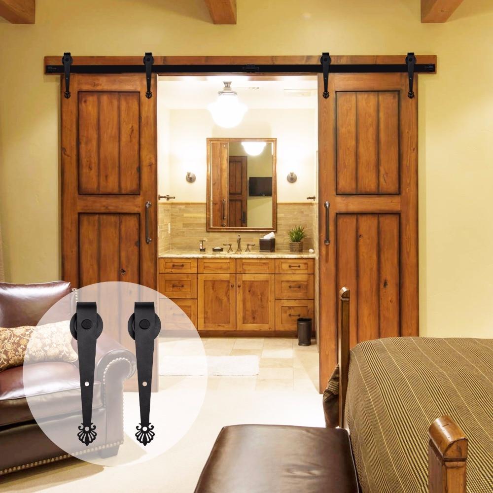 LWZH Country Style Barn Door Hardware Kit 6FT/7FT/7.5FT/9FT Steel Sliding Barn Door Crown-Shaped Track Roller For Double Door