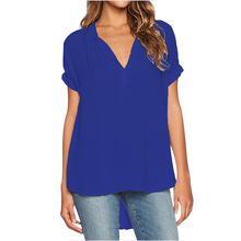 CINESSD Women Casual Tops Chiffon Blouse Sexy V Neck Short Sleeves Solid Loose Tunic Pullover Blue Front Long Back Blouses