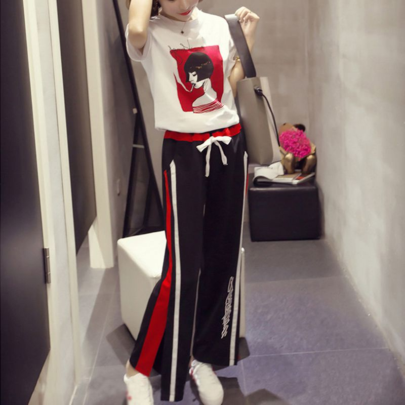 2019 Casual Printed T-shirt Trouser Women Two Piece Set Short Sleeve Loose T-shirts High Waist Wide Leg Pants Suits Summer 1X