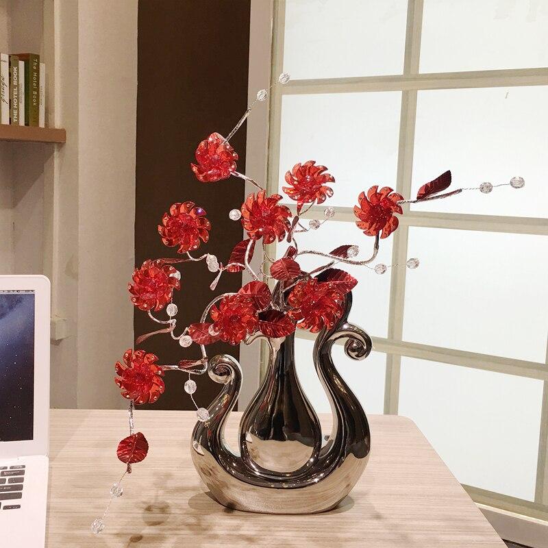 Top kwaliteit Crystal bloem Woondecoratie Ambachten creatieve keramische vaas beeldjes decoraties Miniaturen Huwelijksgeschenken-in Figuren & Miniaturen van Huis & Tuin op  Groep 3