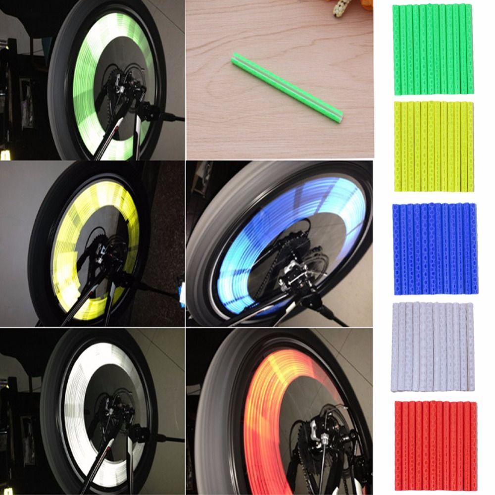 12pcs Reflector Bicycle Wheel Rim Spoke Mount Bike Warning Light Strip Tube NEW