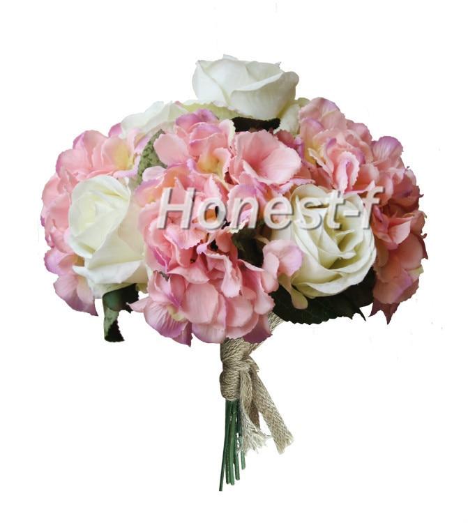Hand Tie Artificial Silk Flowers Bounquet With 4 Heads Hydrangea