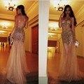 2014 Sereia Spagetti Correias Tribunal Trem Mangas Ouro Tulle Satin Frisada Abrir Voltar Evening Elegante Dresses Prom Dresses Vestido
