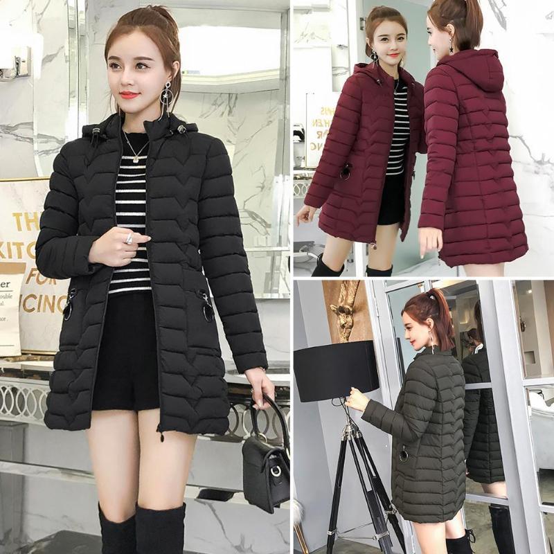 Winter Women Plus Size Fashion Hooded Down Jacket Coats Thicken Slim Parkas Solid Color Zipper Pockets Female Warm Outerwear