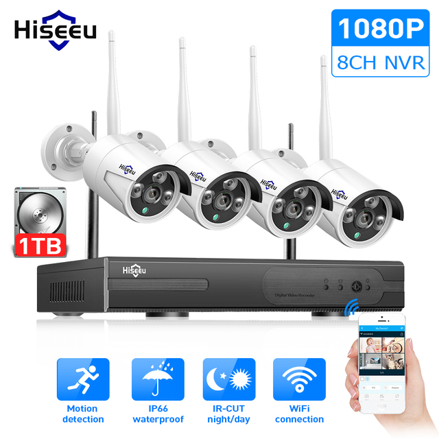 Hiseeu 8CH Wireless CCTV System 1080P 1TB HDD 2MP NVR IP IR-CUT outdoor CCTV Camera IP Security System Video Surveillance Kit