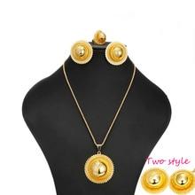 Tamaño grande/Ethiopian nupcial Pendiente de La Joyería/Collar/Anillo de oro de Plata chapado en oro Africano fija/Nigeria/el sudán y Eritrea/Kenia/de La Boda