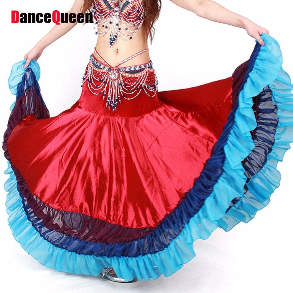 2017 nouveauté espagne Style jupe de danse du ventre 5 couleurs jupe gitane enthousiasme jupe de danse du ventre non tramée Falda gitane