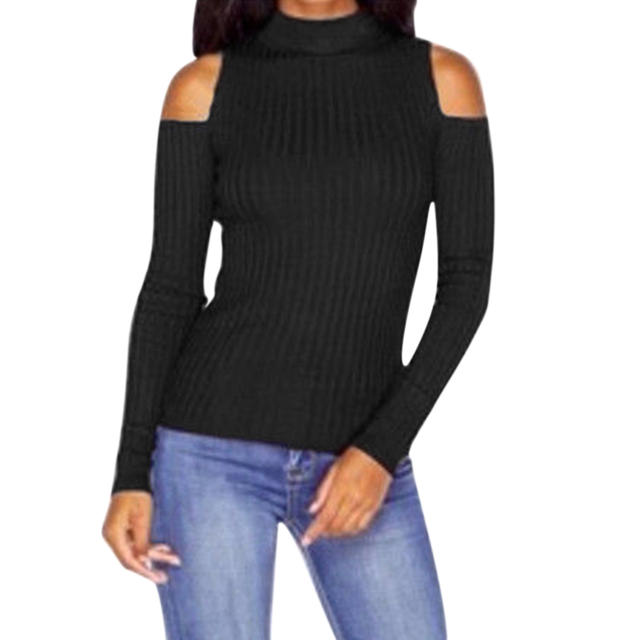 6b62510a50687 turtleneck off shoulder sexy pullover sweater women Tricot oversize jumper  pull femme Spring fashion knitted outwear