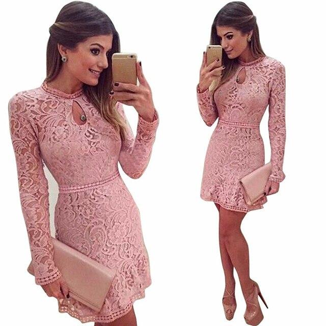 c384668766d Autumn Winter Women Sexy Pink Lace dress Long Sleeve Slim Beach Short Dress  Solid Party Mini Bodycon Dresses vestidos de festa