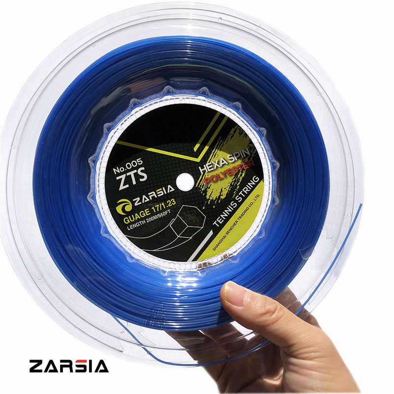 1 Reel ZARSIA hexagon tennis Strings Durable Hex polyester Tennis Racket String1.23MM 200M big banger Blue string