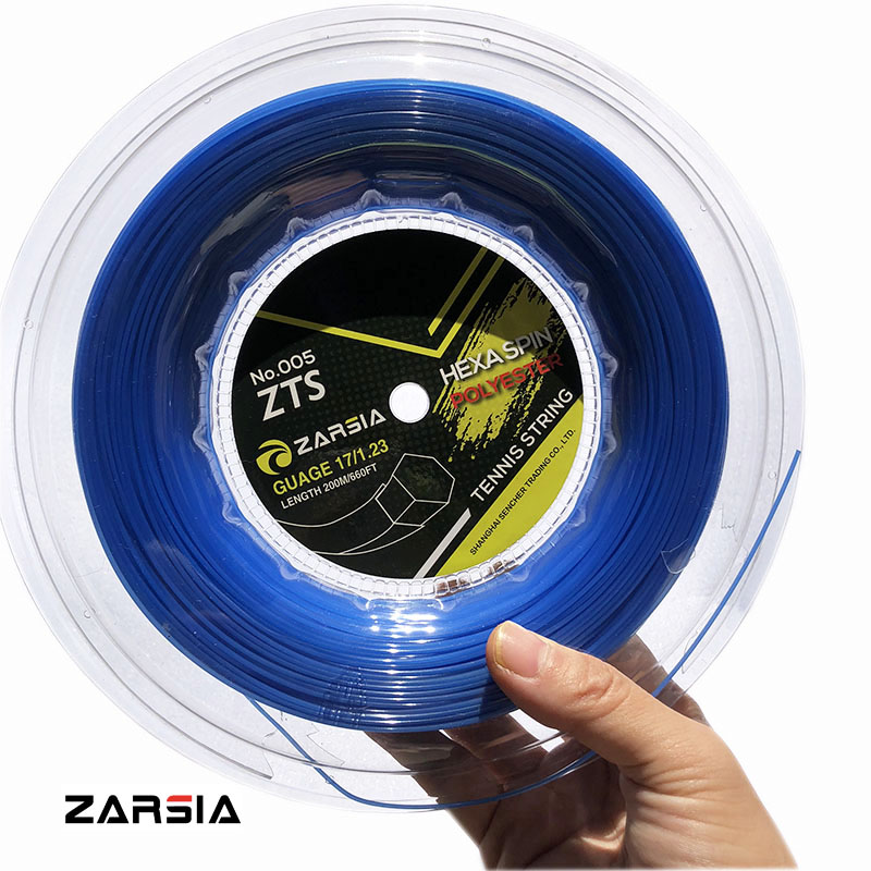 1 Reel ZARSIA Hexagon Tennis Strings Durable Hex Polyester Tennis Racket String1.23MM 200M Big Banger Blue String