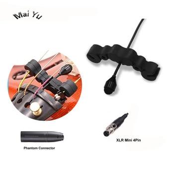 Kerah profesional Kondensor Mikrofon Microfone untuk Shure Wireless Sistem Musik Instrumen Biola 4Pin XLR Mini Transmitter