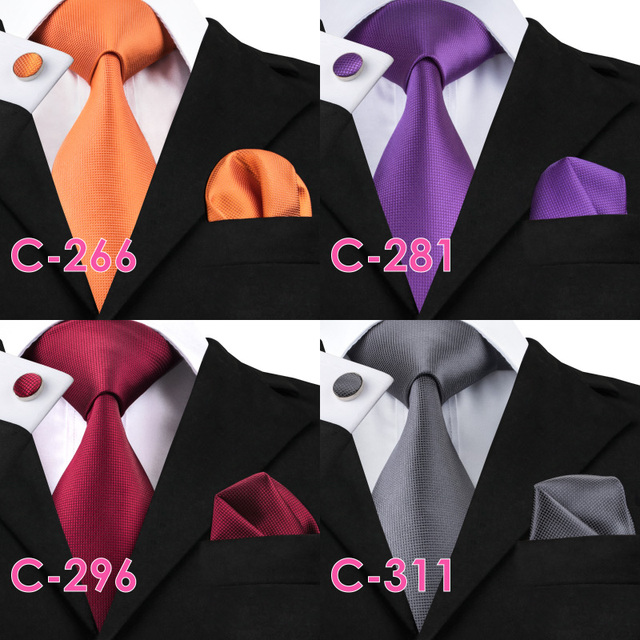 Solid Silk Mens Ties Neck Tie Set for Men Suits Tie Handkerchief Cufflinks Gravatas Ties for Men Wedding Vestidos Corbatas 2
