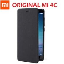"Original Xiao mi mi 4C กรณี mi 4C สมาร์ทพลิกฝาครอบหนัง PU กรณี wake up สำหรับ mi 4C สีดำ 5 ""อย่างเป็นทางการ Xiao mi โทรศัพท์"