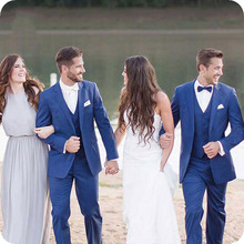 Royal Blue Men Suits For Wedding Bridegroom Groomsmen Formal Wear Custom Made Tuxedos Slim Fit Man Blazer 3pieces Costume Homme